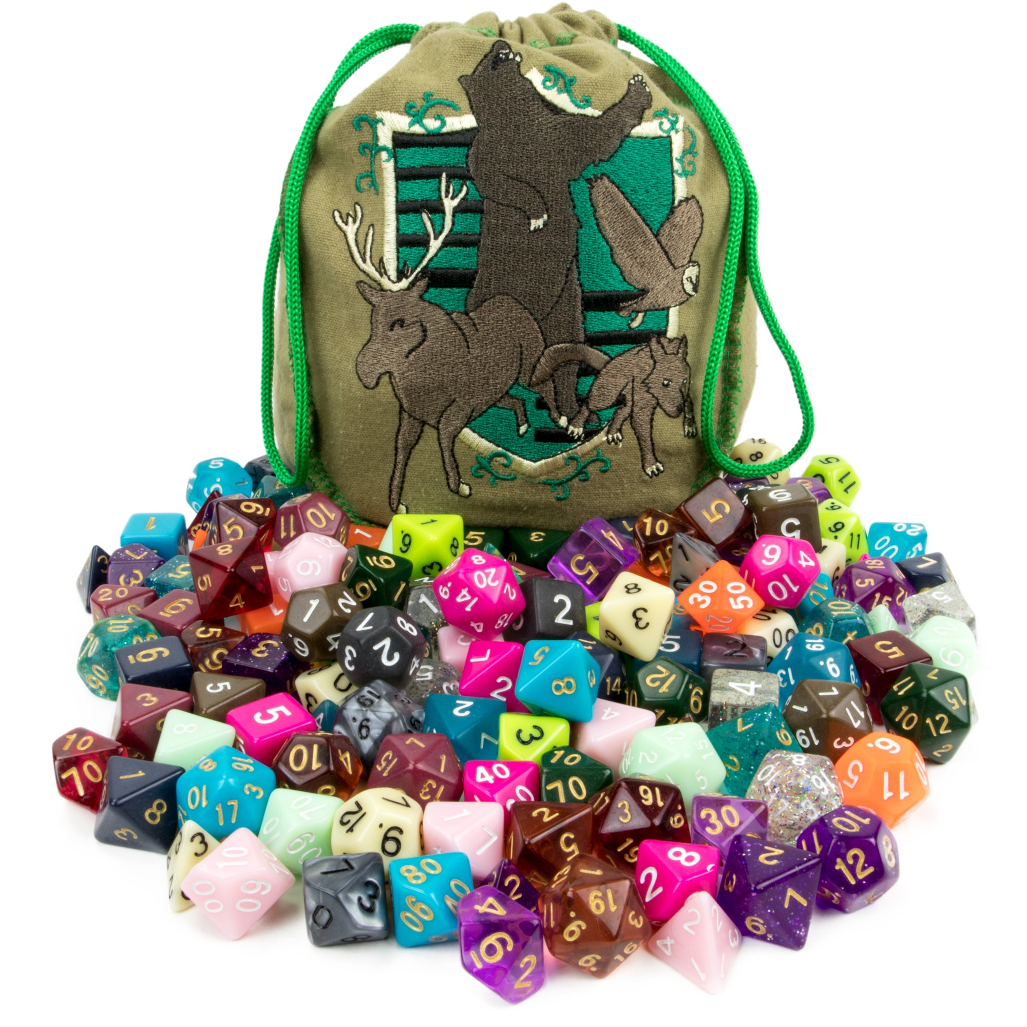 Wiz Dice Bag of Tricks: Collection of 140 Polyhedral Dice in 20 Guaranteed Complete Sets for Tabletop Role-Playing Games - Neons, Translucents, & Sparkly Glitters by Wiz Dice