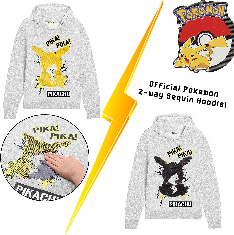 Su/éter Manga Larga con Estampado De Lentejuelas Reversible Ni/ños y Adolescentes Pok/èmon Sudadera Capucha para Ni/ños Sudadera Personaje de Pikachu