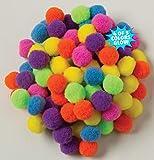 Chenille Kraft Creativity Street Pom Pons 100-Piece X 1/2-Inch Hot Assorted Colors