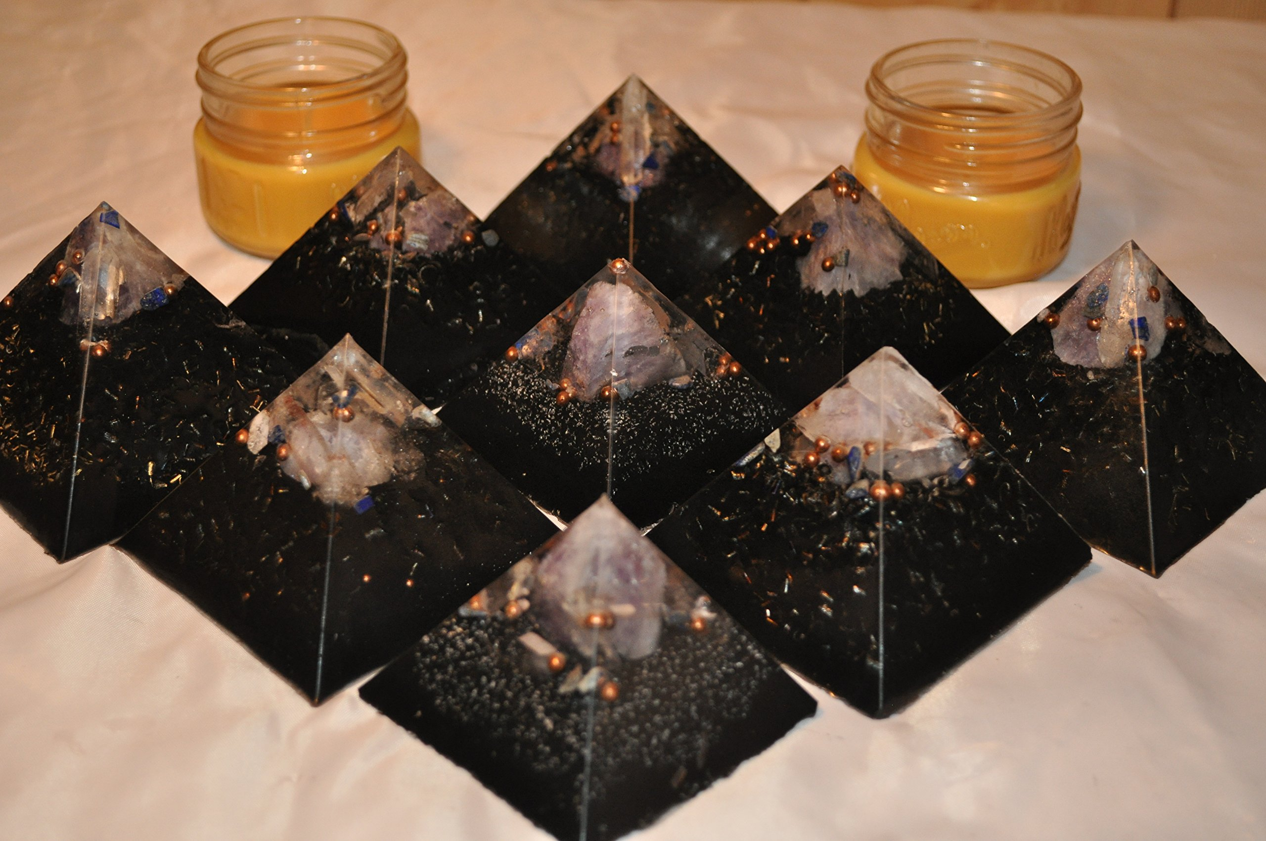 set of 9 aesthetic QUARTZ CRYSTAL ORGONE ENERGY pyramids FOR EMF PROTECTION, HOME OR OFFICE DECORATION, IMPROVED SLEEP makes perfect and complete home system for maximum protection from WiFi and EMF