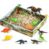 CoolSand 3D Sand Box – Kinetic Play Sand For All Ages – Includes: 10 Shaping Molds, 12 Dino Figures, 1 lb. of Cool Sand and 3D Tray - Dino Discovery Edition