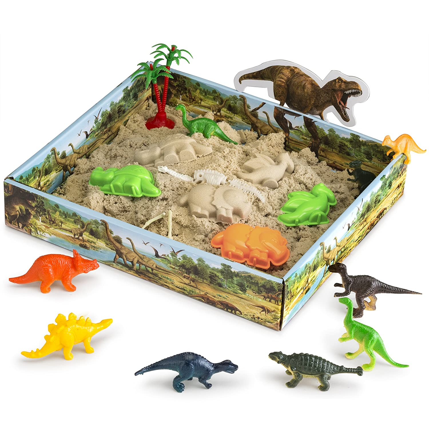 CoolSand 3D Sandbox - Dino Discovery Edition - Set Includes: 1 Pound Moldable Indoor Play Sand, Shaping Molds, Dinosaur Figures and 3D Tray - Featuring Sensory Kinetic Action
