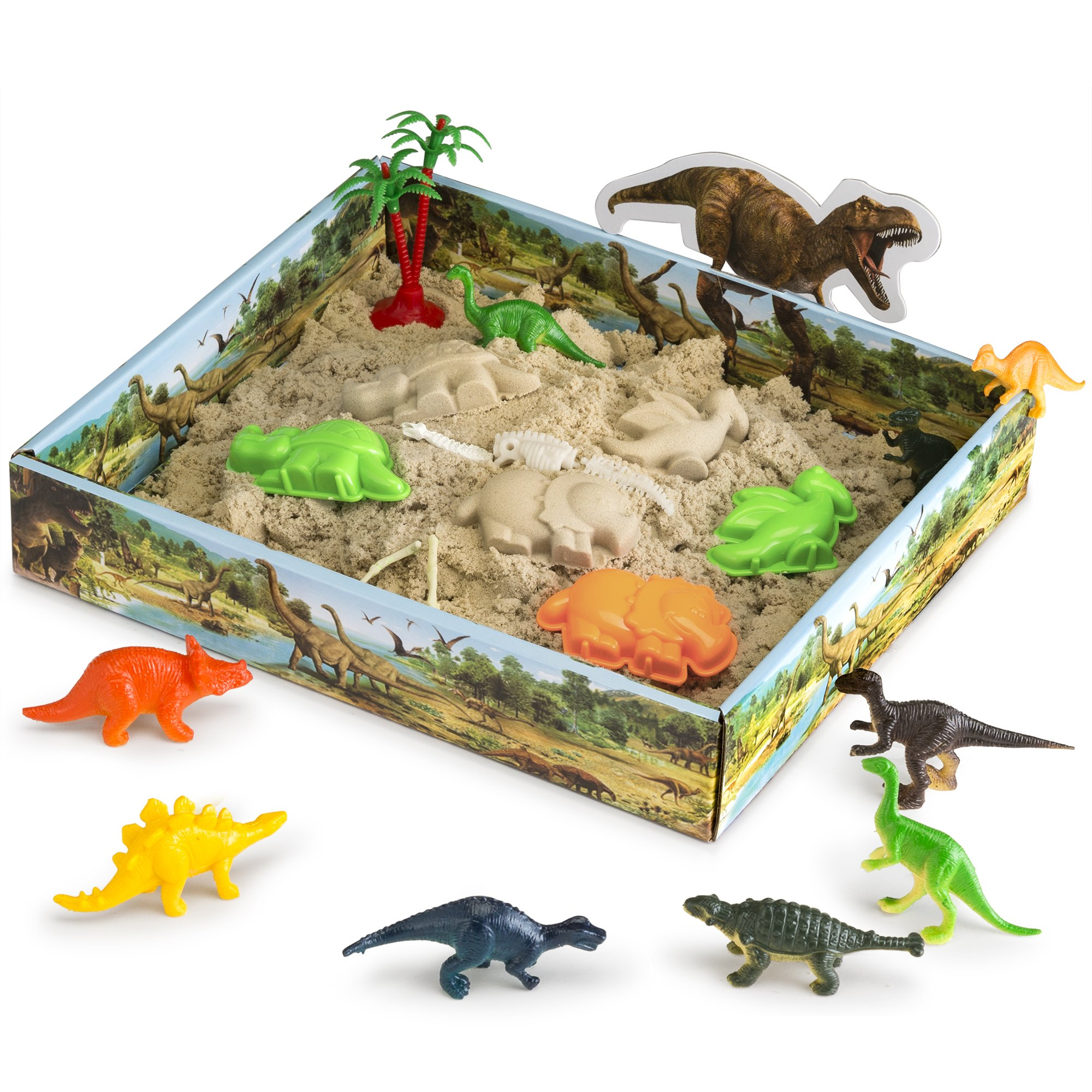 CoolSand 3D Sandbox - Dino Discovery Edition - Set Includes: 1 Pound Moldable Indoor Play Sand, Shaping Molds, Dinosaur Figures and 3D Tray by CoolSand