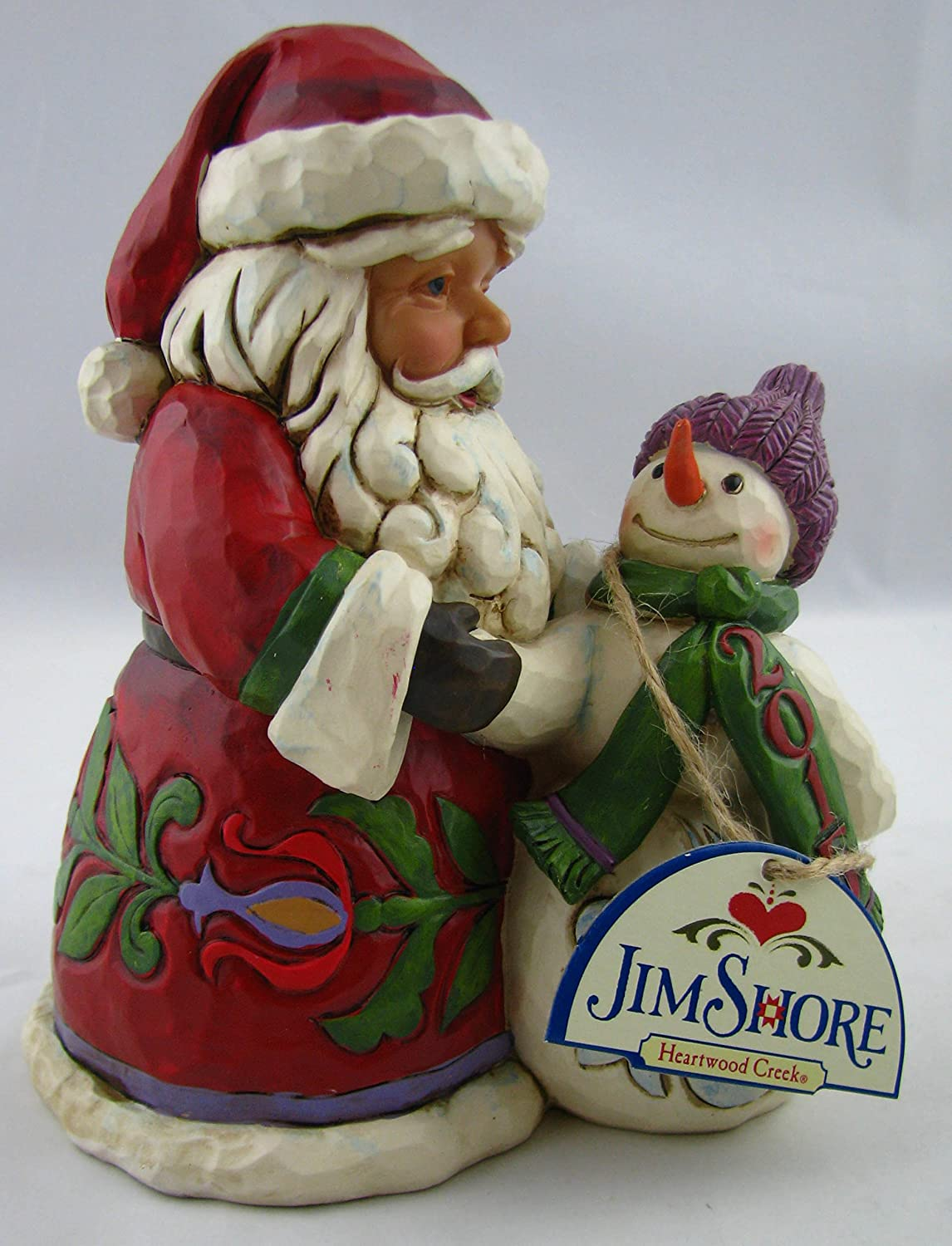 Enesco 4051217 2015 Dated Santa with Snowman Figurine
