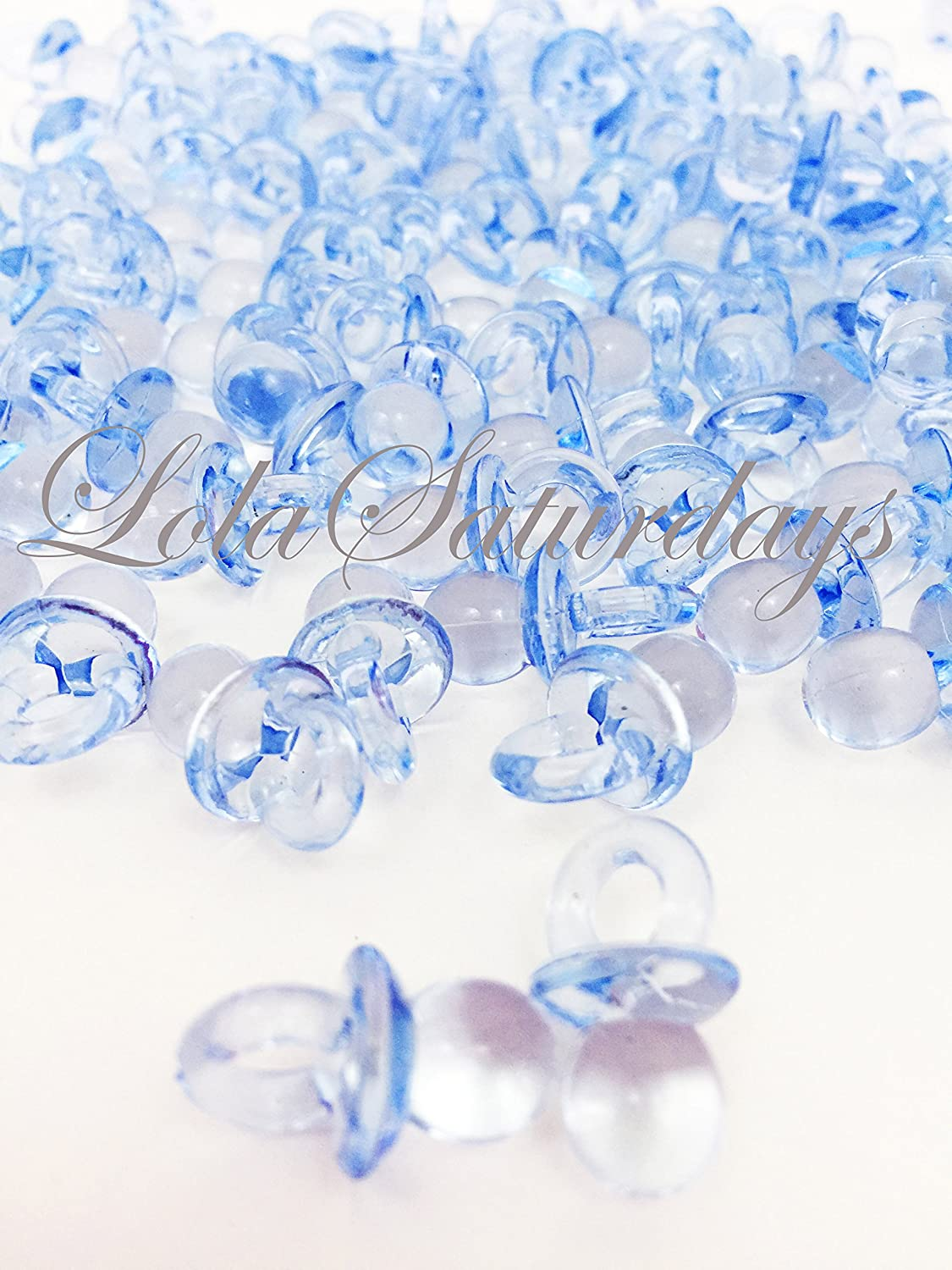 LolaSaturdays Baby Pacifiers Acrylic Party Favors - Blue 100 pcs