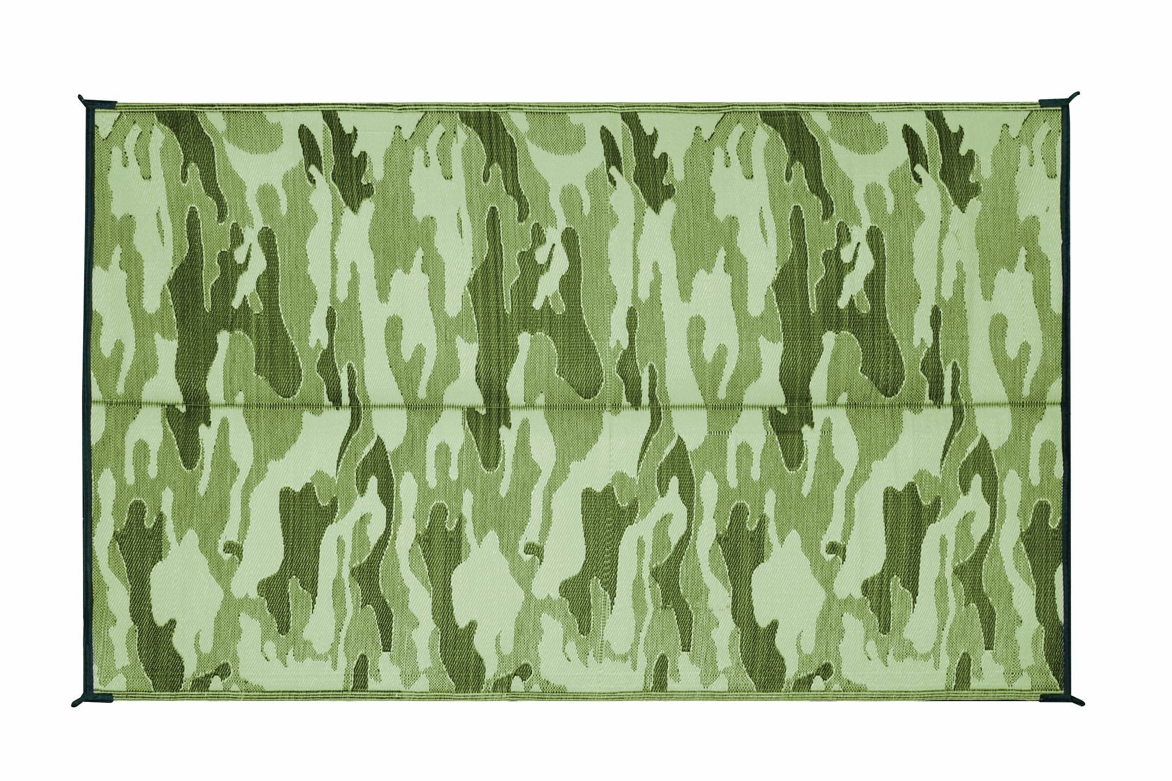 Camco Large Reversible Outdoor Patio Mat - Mold and Mildew Resistant, Easy to Clean, Perfect for Picnics, Cookouts, Camping, and The Beach (9' x 12', Camouflage Design) (42825) by Camco