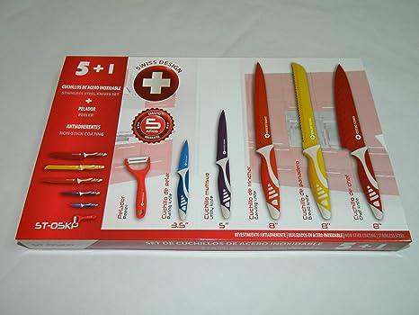 Swiss Design ST-05KP Set Juego de 5 cuchillos de acero inoxidable y pelador, revestimiento ceramico, antiadherentes