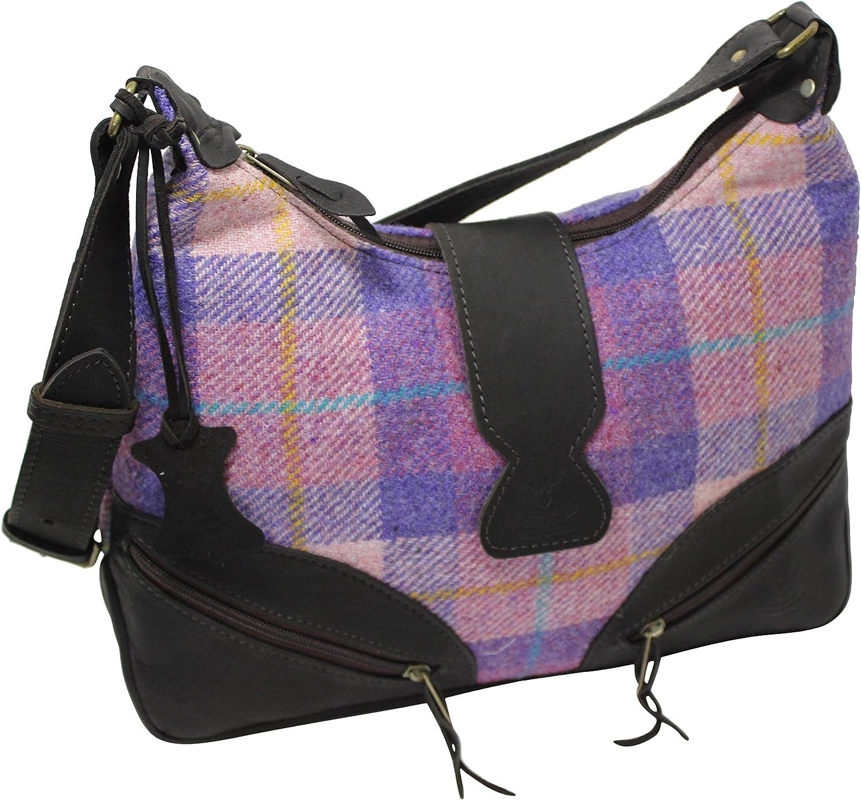 Scottish Deerskin Designer Leather Pink Lilac Tartan Harris Tweed Large Handbag