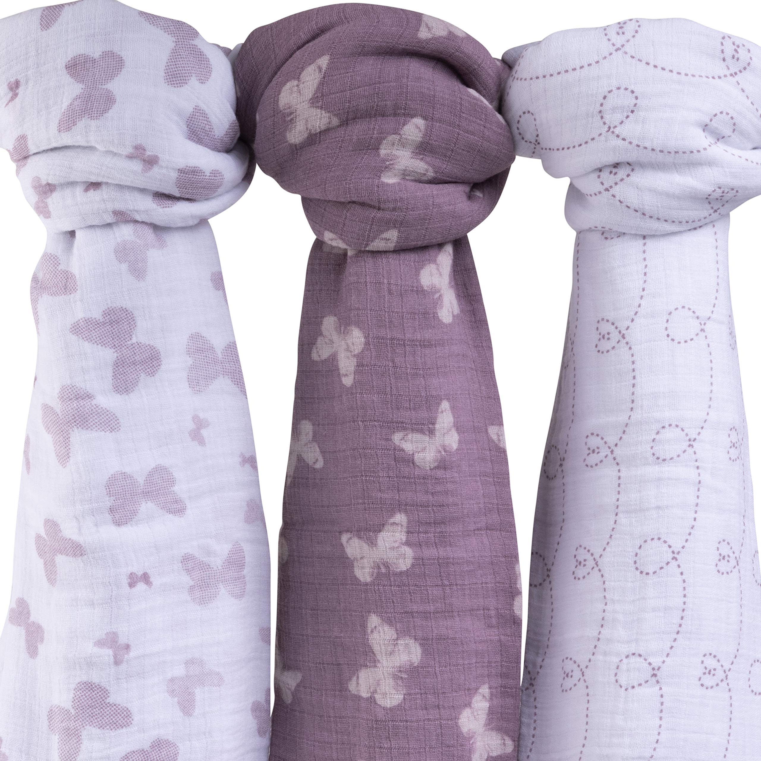 Muslin Swaddle Blanket 100% Soft Muslin Cotton 3 Pack 47''x 47'' (Lavender Butterfly) by Ely's & Co.