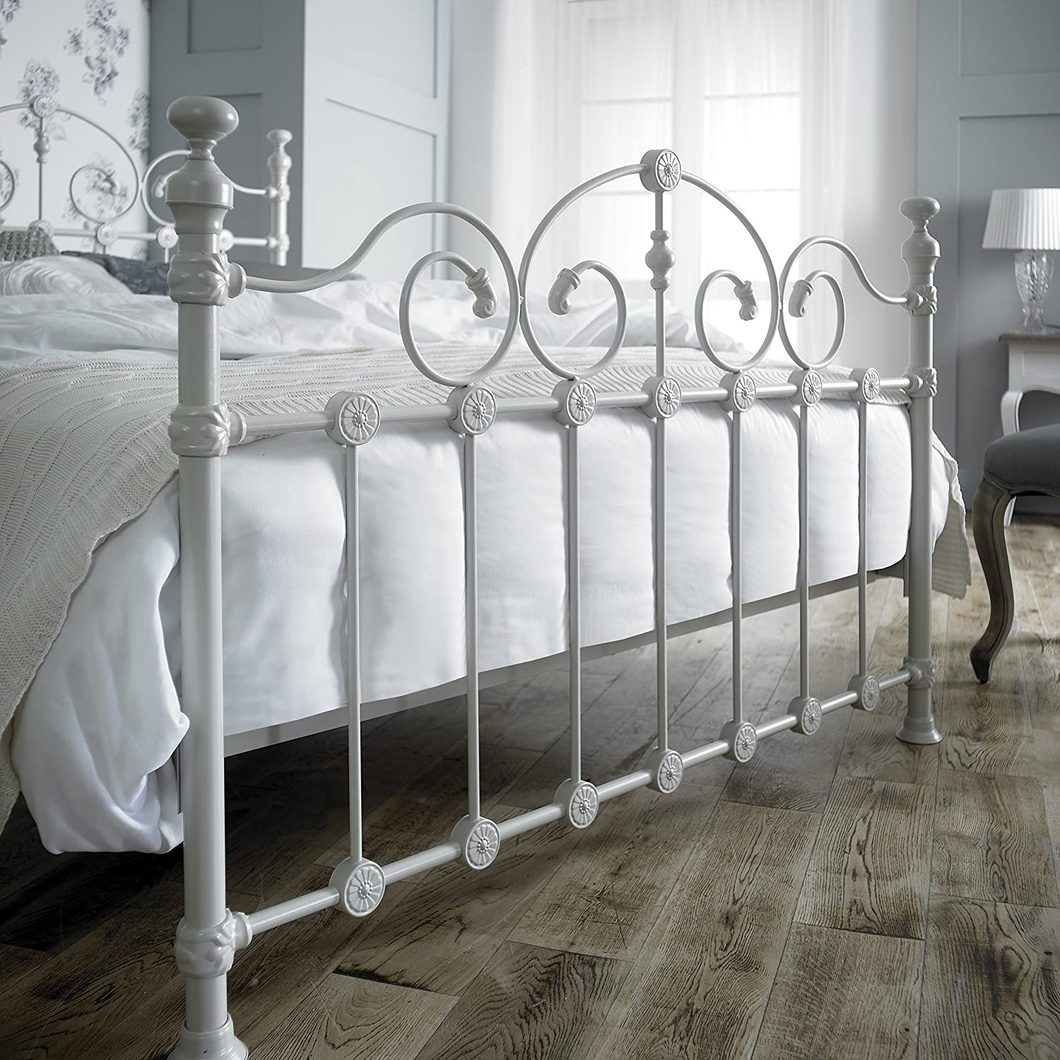 victorian style double 4ft 6inch cream metal bed frame amazoncouk kitchen u0026 home
