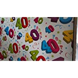 40th Birthday Wrapping Paper, 2 Sheets and 1 Matching Tag (White Swirl)