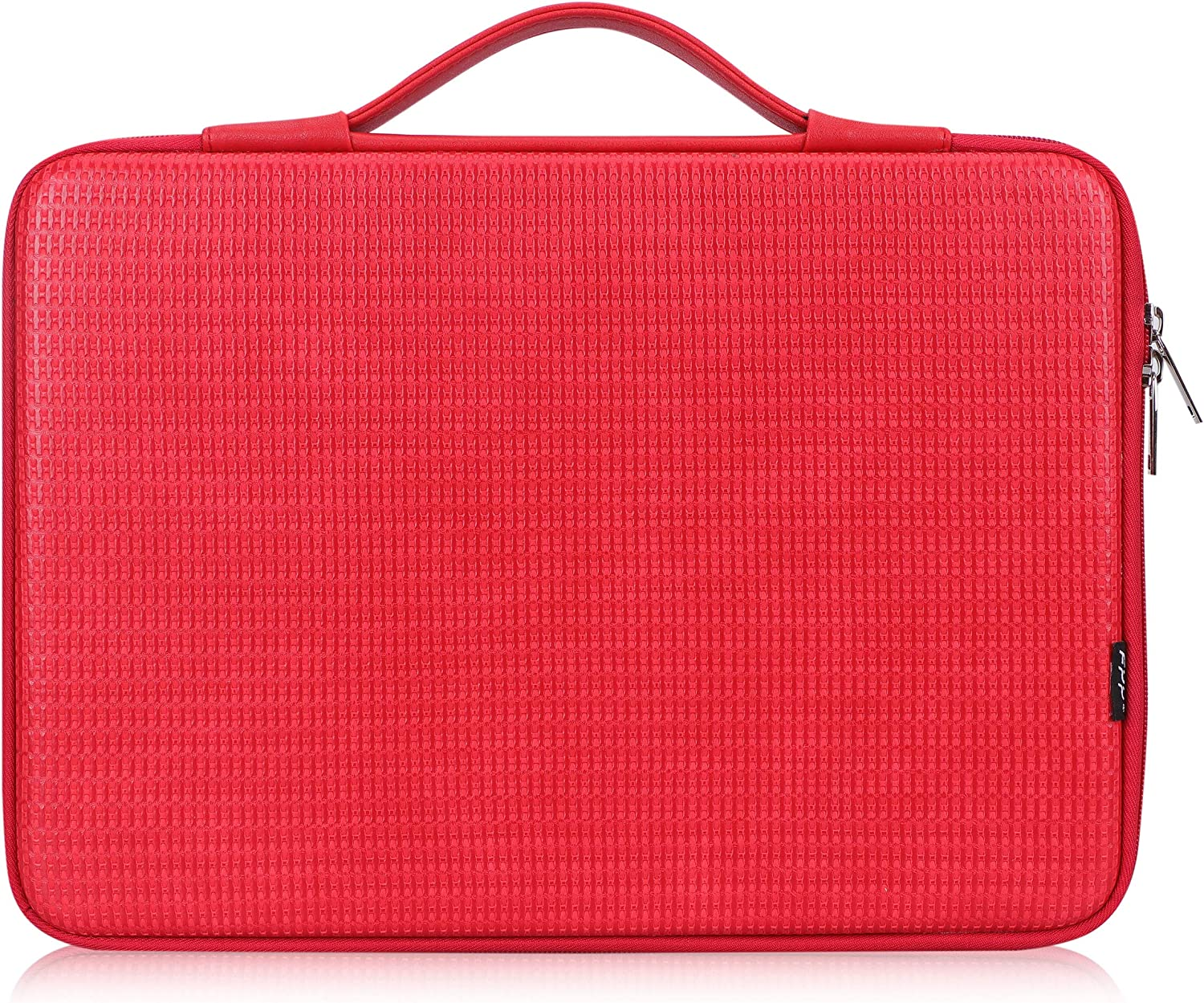 "FYY 13.5""-15"" [Waterproof Leather] [Solid Hard Shape] Laptop Sleeve Bag Case with Inner Tuck Net Fits All 13.5""-15"" Inches laptops, MacBook Pro, Notebook, Surface Book Red"