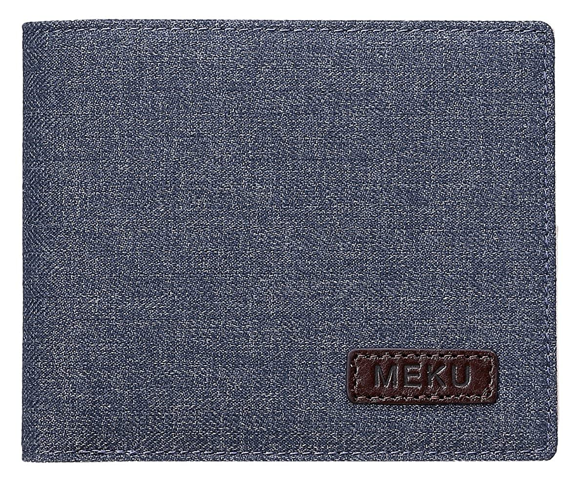 MEKU Men Boy Minimalist Slim Wallet - RFID Blocking Slim Bifolod Wallets with Zipper Coin Pocket