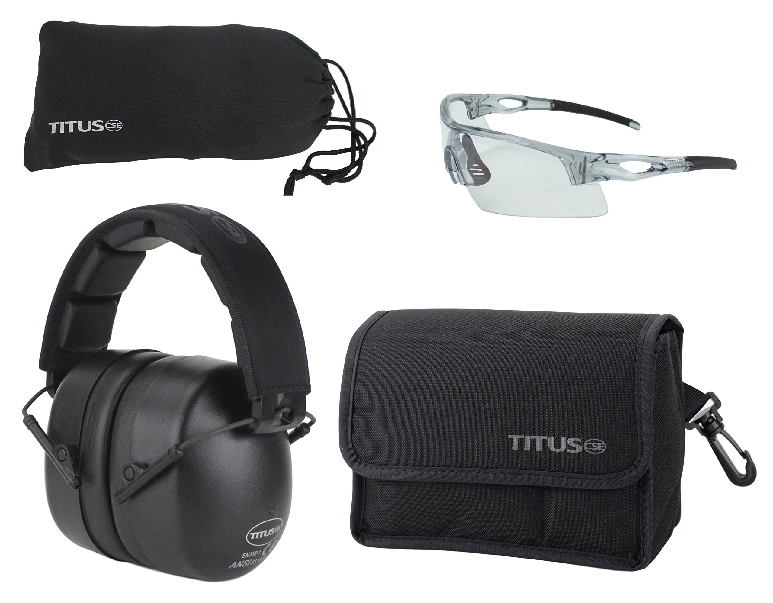 TITUS Safety Glasses and Earmuff Combos (Black, G20 Clear w/All-Sport Frame)