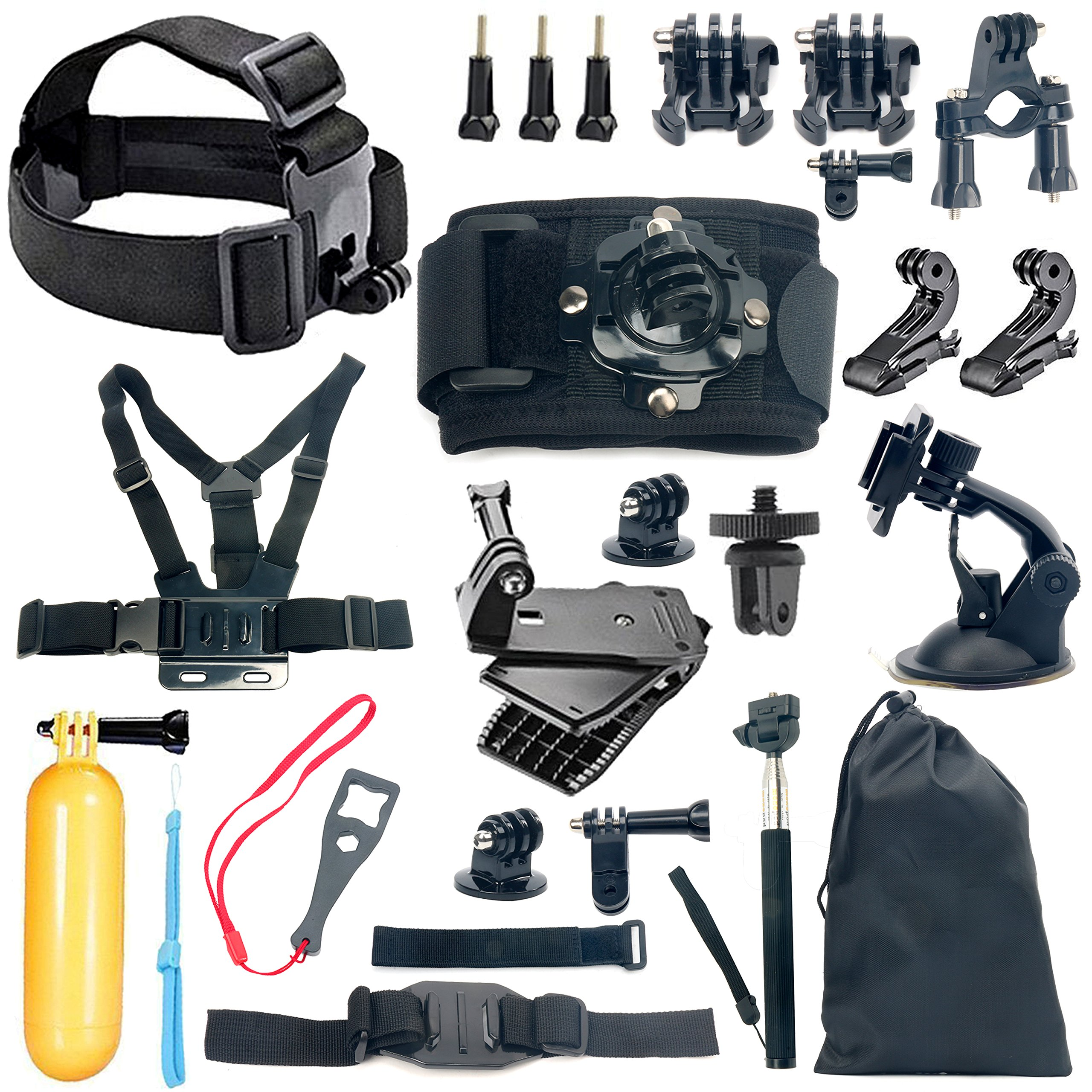 YaeCCC 18-in-1 Gopro Accessory Kit for GoPro Hero5 Black, Hero5 Session, Hero 4 Silver Black, Hero Session, Hero3+,3,2,1 SJ4000,5000,6000,XIAOMIYI,2,Sports Camera Accessories,Gopro Bundle