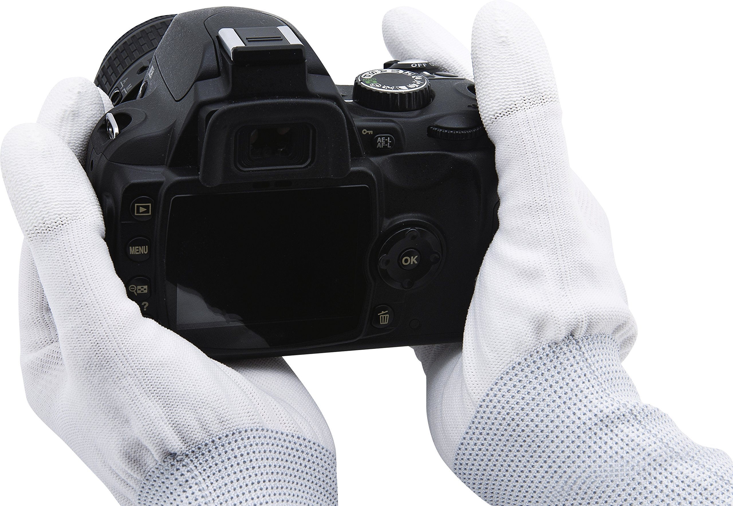Rollei Lens Cleaning Gloves L - Anti static gloves for cleaning cameras, lenses and camera sensors, optimal grip, white by Rollei
