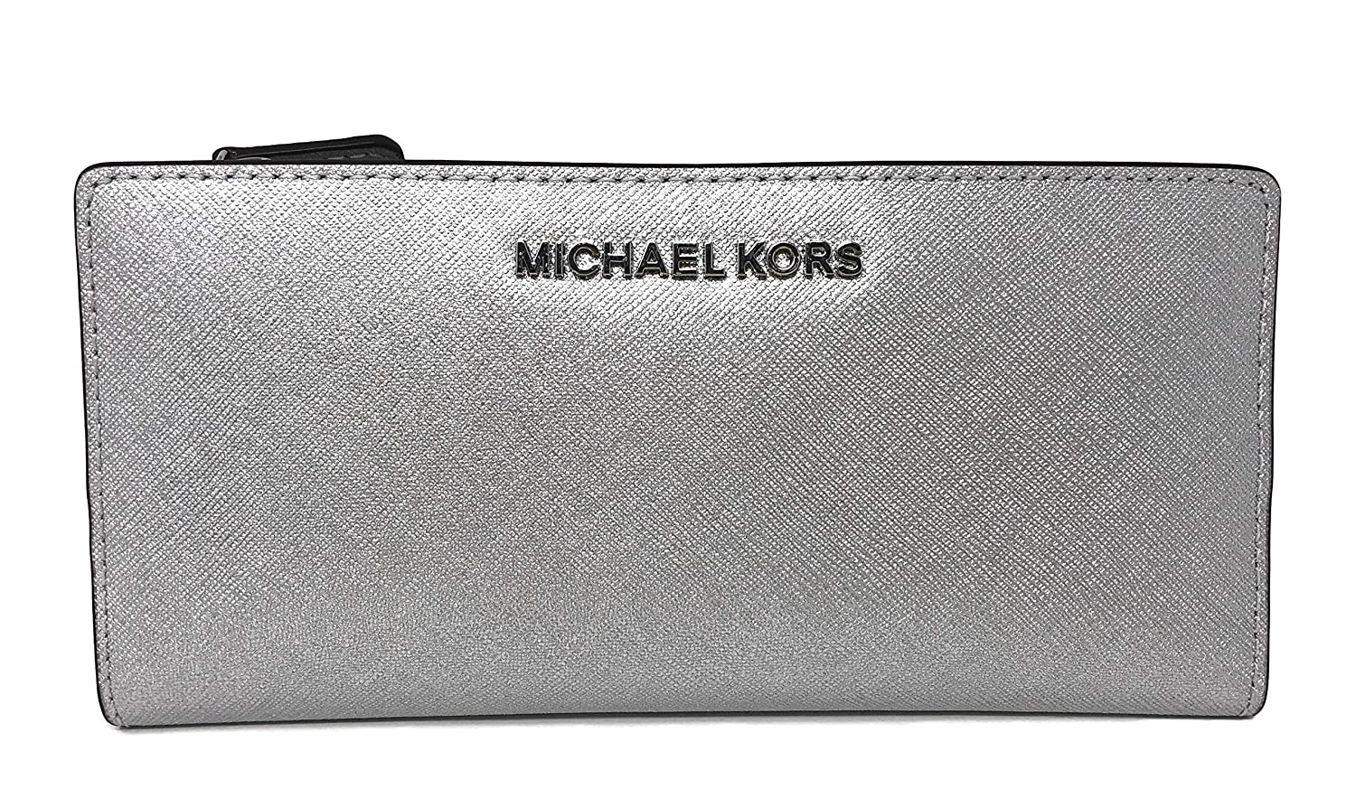 405d6986ab68 Amazon.com  Michael Kors Jet Set Travel Large Card Case Carryall Leather  Wallet in Silver  All About Faith