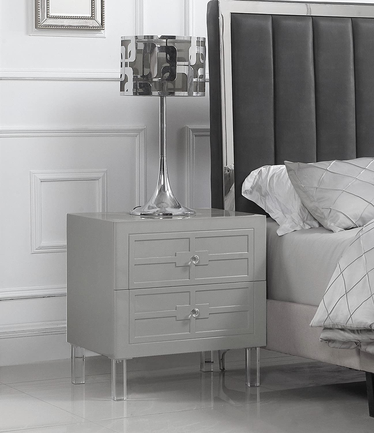 Amazon.com: Iconic Home Naples Nightstand Side Table with 2 ...