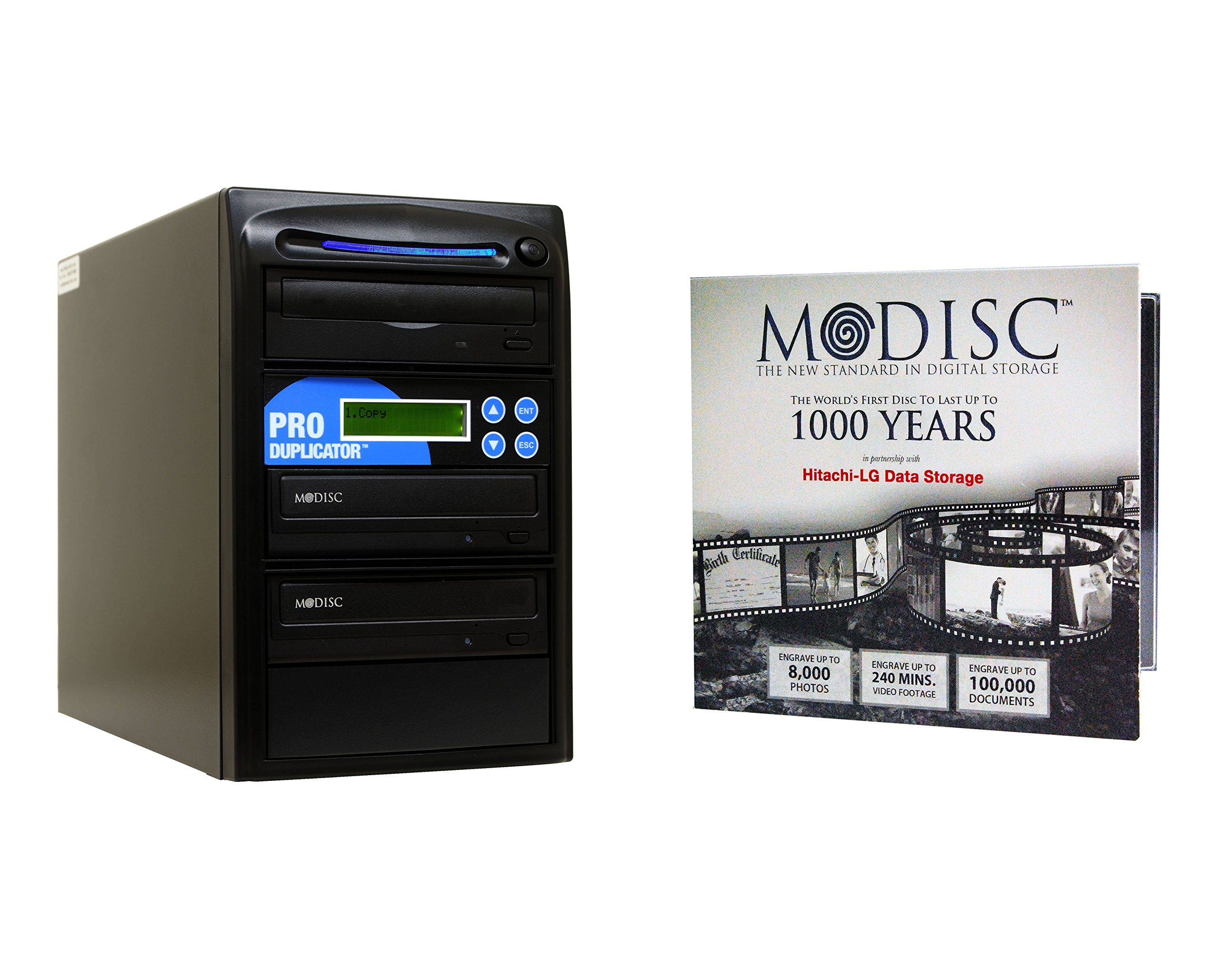 Produplicator 1 to 2 24X M-Disc Support CD DVD Duplicator Bundle with 1 Pack M-DISC, Nero Essentials Burning Software (Standalone Duplication Tower)