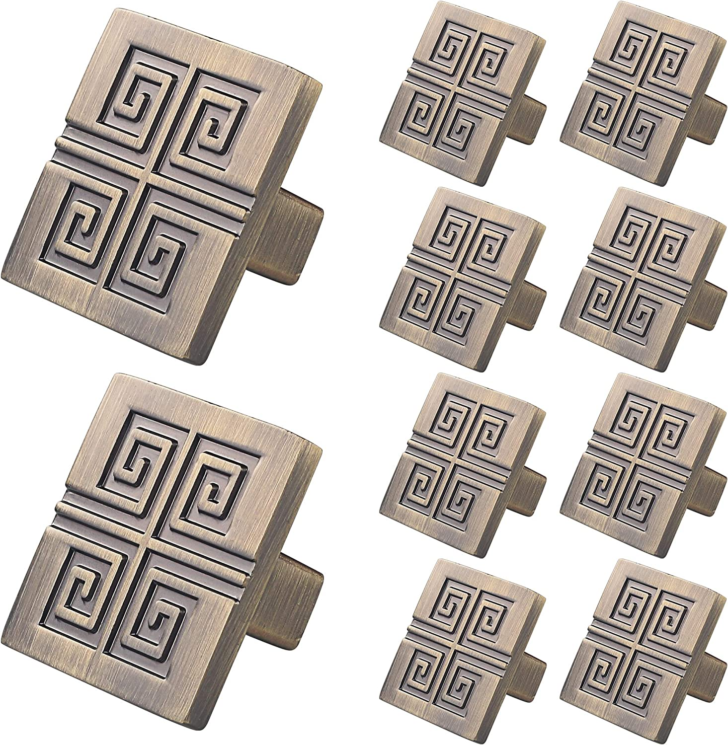 WELLOCKS Cabinet Knob 10 Pack Oil Rubbed Bronze, Heavy Duty Square Drawer Pulls, Zinc Alloy Cabinet Hardware for Office and Home Kitchen, Bathroom Cabinet, Dresser and Cupboard DIY(D024)
