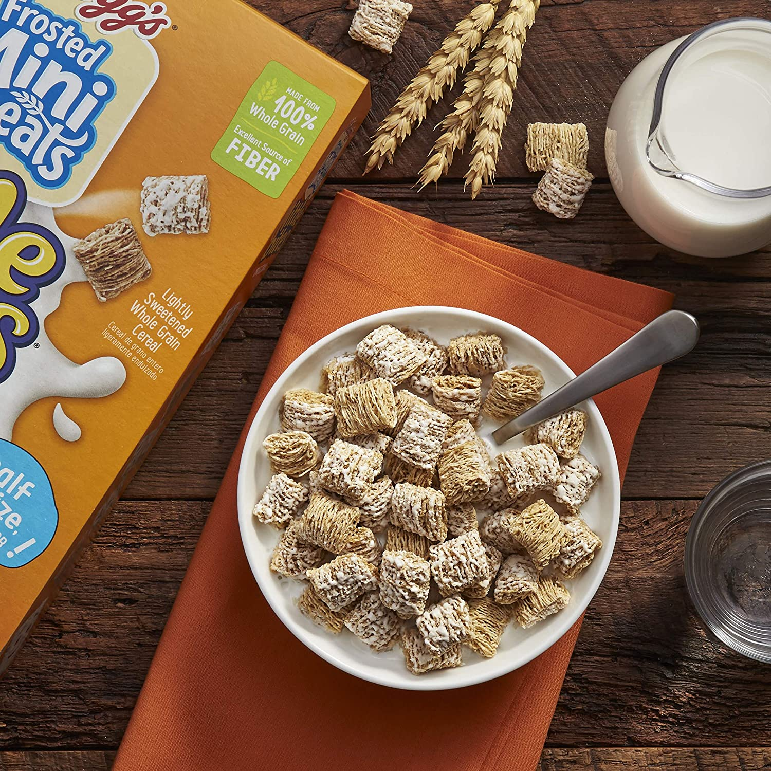 Amazon.com: Kelloggs Breakfast Cereal, Frosted Mini-Wheats, Little Bites, Original, Low Fat, Excellent Source of Fiber, 15.2 oz Box: Breakfast Cereals