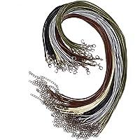 Halsketting, gewaxt, met sluiting, 50 stuks, 2 mm, voor het maken van sieraden, parelkettingen, armbanden, knutselwerk…