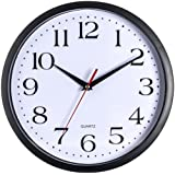 Bernhard Products - Black Wall Clock, Silent Non Ticking Quality Quartz Battery Operated Round Easy to Read Home/Office/School Clock (12 Inch)