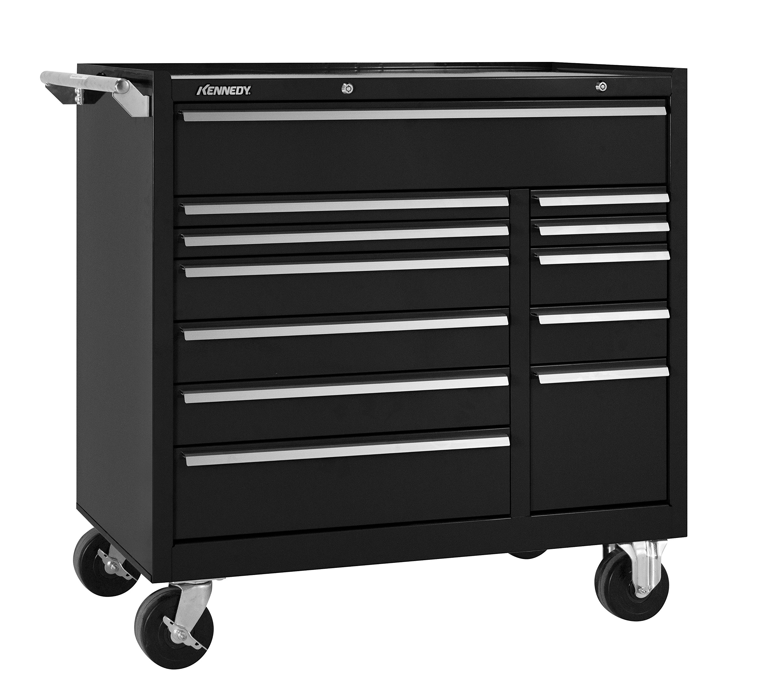Kennedy Manufacturing 10493BK 39'' 12-Drawer Industrial Double-Bank Roller Cabinet