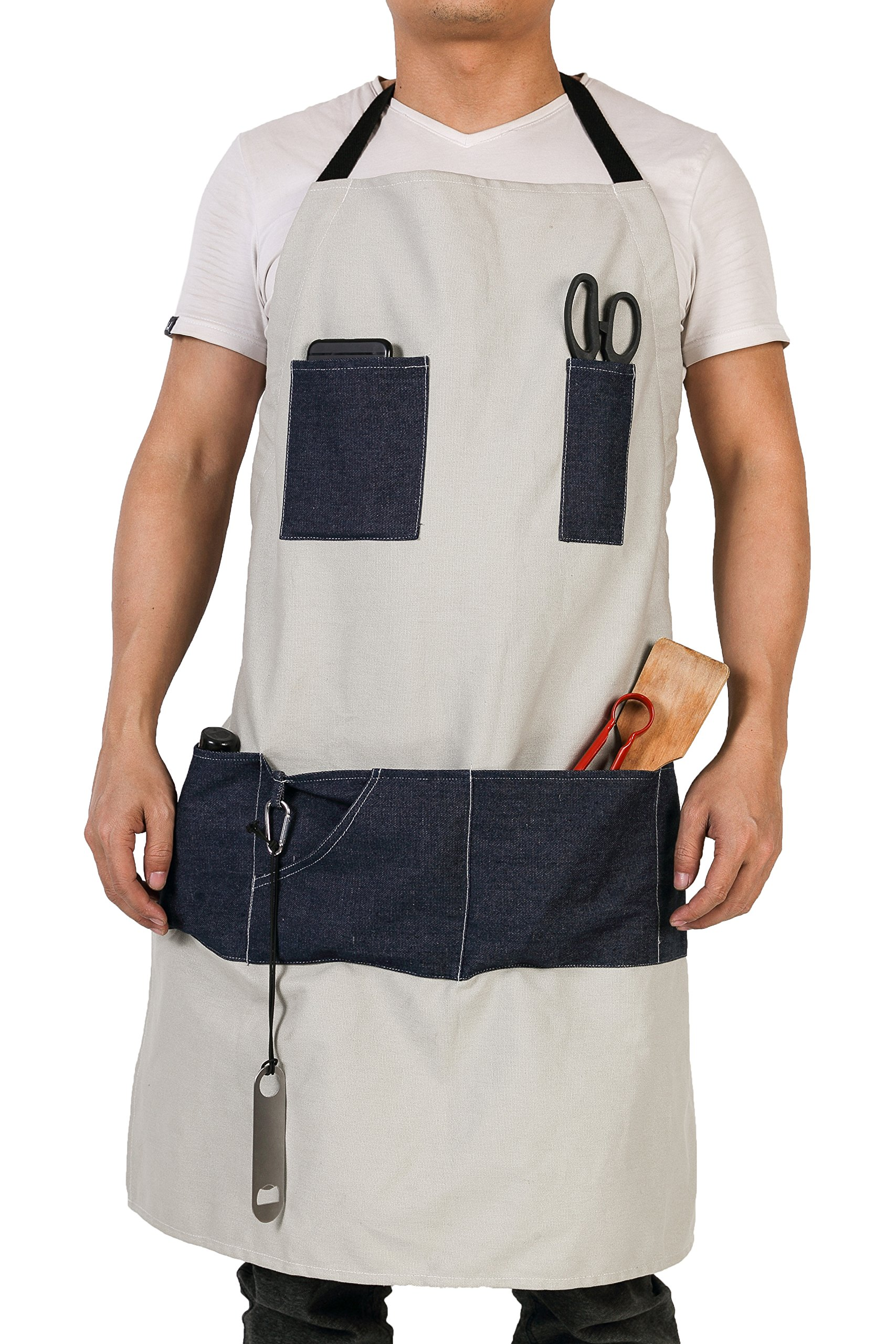 Waterproof Waxed Canvas Workshop Apron Featuring 7 Denim Pockets & Extra Free Corkscrew Attached Best Tool Apron for Men Women HSW-087-US
