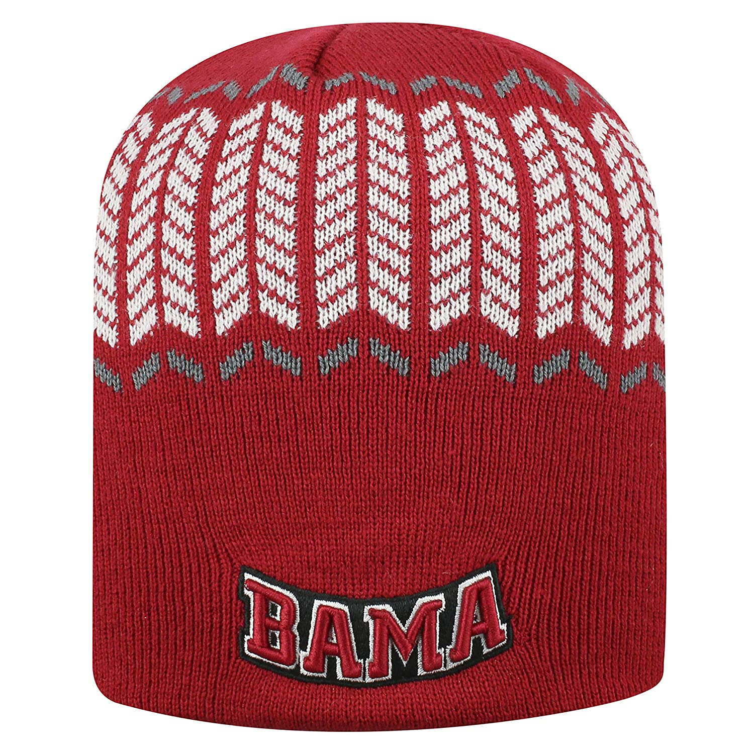 Top of the World Alabama Crimson Tide Official NCAA Uncuffed Knit Sports Stripe Beanie Hat 744643