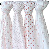 "Whitewrap Baby Swaddle Blankets   4-Pack   100% Organic Muslin Swaddle Blankets   44""x44""   Pink  Soft Baby Wrap Muslin Swadd"