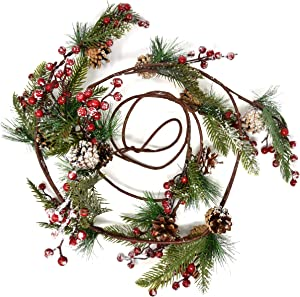 Christmas Pine Cone and Red Berry Garland Decorations 8 Feet Faux Holiday Winter Artificial Green for Kitchen Indoors Outdoors Staircase Railing Banister Door Fireplace Mantel Wreath Decor