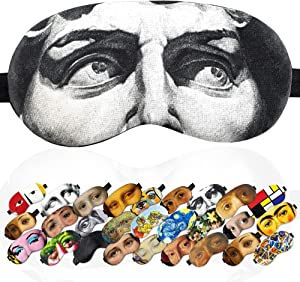 Sleep Mask David of Michelangelo Masterpieces for Men - 100% Soft Cotton - Comfortable Eye Sleeping Mask Night Cover Blindfold for Travel Airplane (David, Gift Pack)
