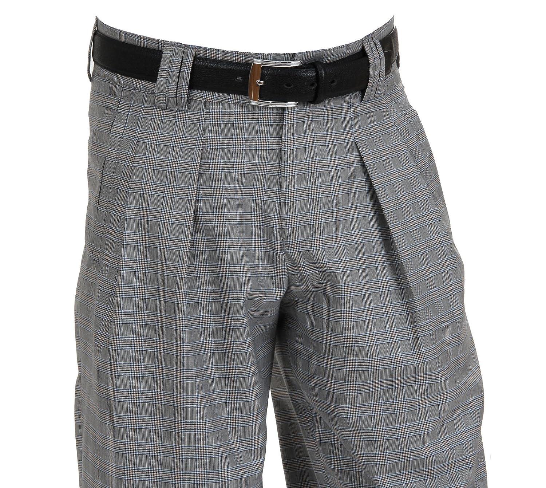 H.K.Mandel Men's Pleat-Front Checkered Trousers black Kariert in schwarz-Wei?