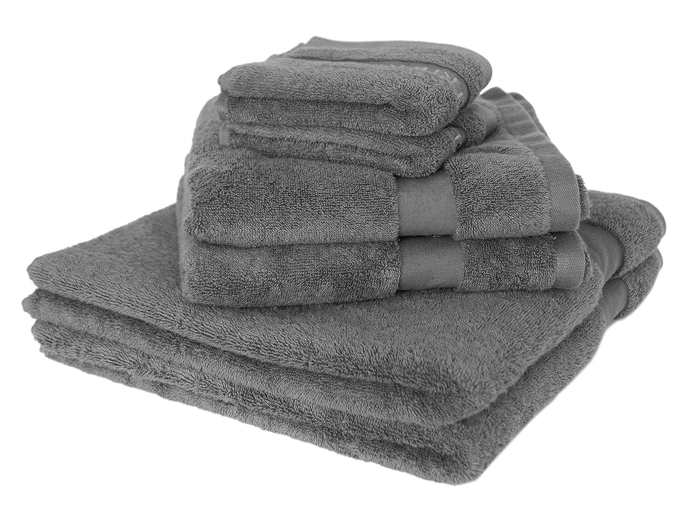 Silberhertz  Handtuch Set 6 teilig I 2 Gästehandtücher 2 Handtücher 2 Duschtücher I 100% Baumwolle I Hygienischer als Mikrofaser I Super für Sport & Kinder I grau
