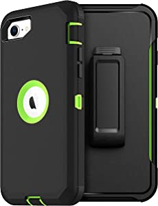 MXX iPhone SE 2020 Heavy Duty Protective Case with Screen Protector [3 Layers] Rugged Rubber Shockproof Protection Cover & Rotating 360 Degree Belt Clip for Apple iPhone SE 2020 (Green/Black)