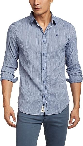 Desigual Camisa Hombre Vichis Azul S: Amazon.es: Ropa y ...