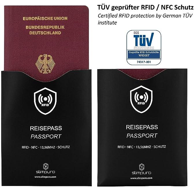 Tarjeta Bloqueo RFID - Inhibidor de Frecuencia - Incluye 2 Fundas Pasaporte RFID y NFC acreditadas por TÜV - Una Sola Tarjeta Protege Toda tu Cartera: ...