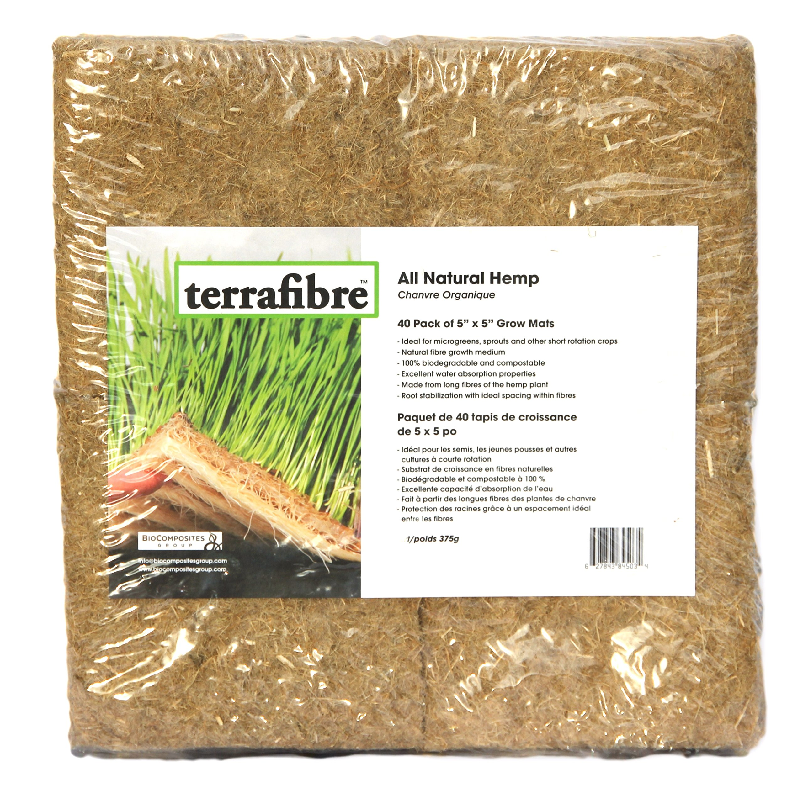 Terrafibre Hemp Grow Mat - Perfect for Microgreens, Wheatgrass, Sprouts - 560 Mat Box 5'' x 5'' (Fits 5'' by 5'' Growing Tray or 8 in a Standard 10'' X 20'' Germination Tray) Fully Biodegradable by Terrafibre