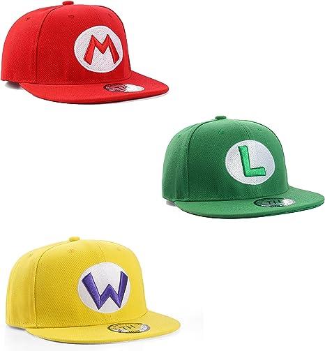 Super Mario, Luigi y Wario Snapback gorras de béisbol Triple Pack ...