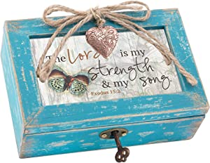 Cottage Garden Lord is My Strength My Song Teal Distressed Locket Petite Music Box Plays Amazing Grace