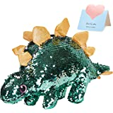 Athoinsu Flip Sequin Stuffed Dinosaur Plush Toy Sparkle Stegosaurus with Reversible Glitter Sequins Birthday for Kids Toddler