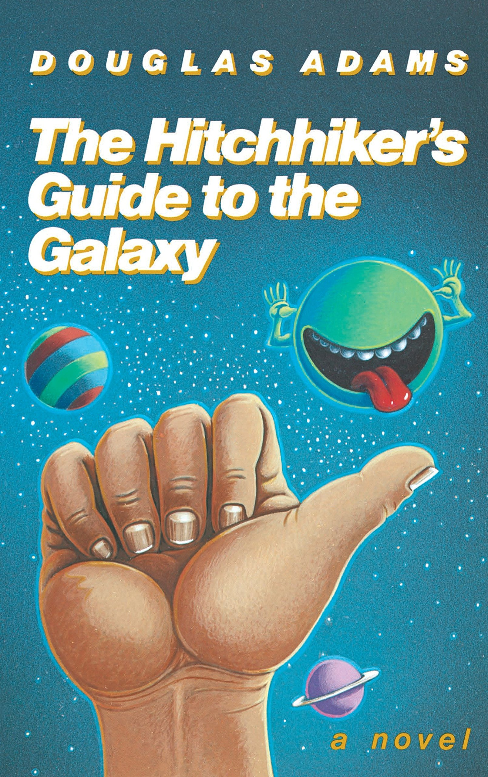 The book cover of, 'The Hitchhikers Guide to the Galaxy' by Douglas Adams