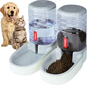 Automatic Pet Feeder Small&Medium Pets Automatic Food Feeder and Waterer Set 3.8L, Travel Supply Feeder and Water Dispenser for Dogs Cats Pets Animals