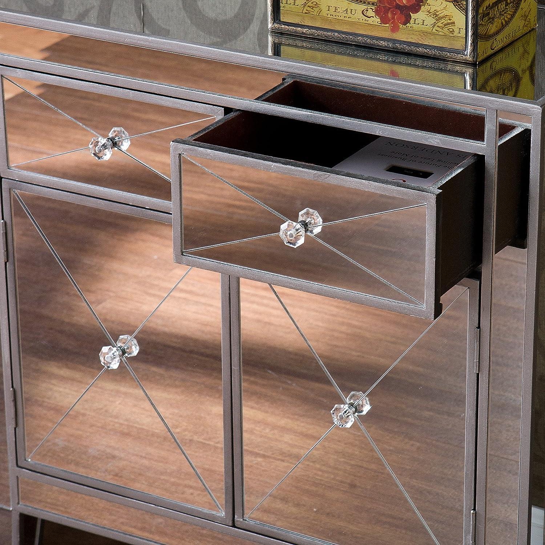 Amazon.com: Southern Enterprises Mirage Mirrored Cabinet: Kitchen U0026 Dining