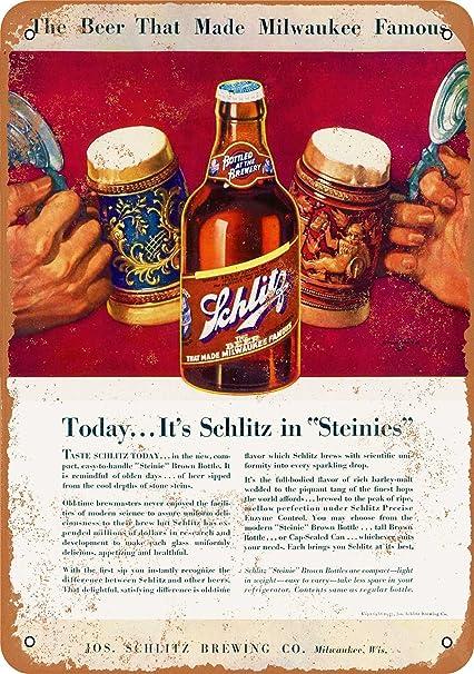 Metal Sign Vintage Look Reproduction Schlitz Brewing Company