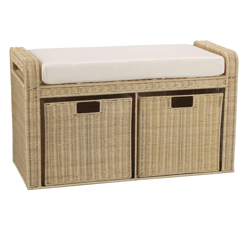 "Amazon Household Essentials Woven Rattan Storage Bench 19"" H"