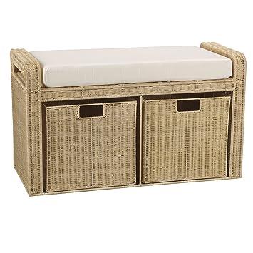 Household Essentials Woven Rattan Storage Bench, 19u0026quot; H X 34u0026quot; ...