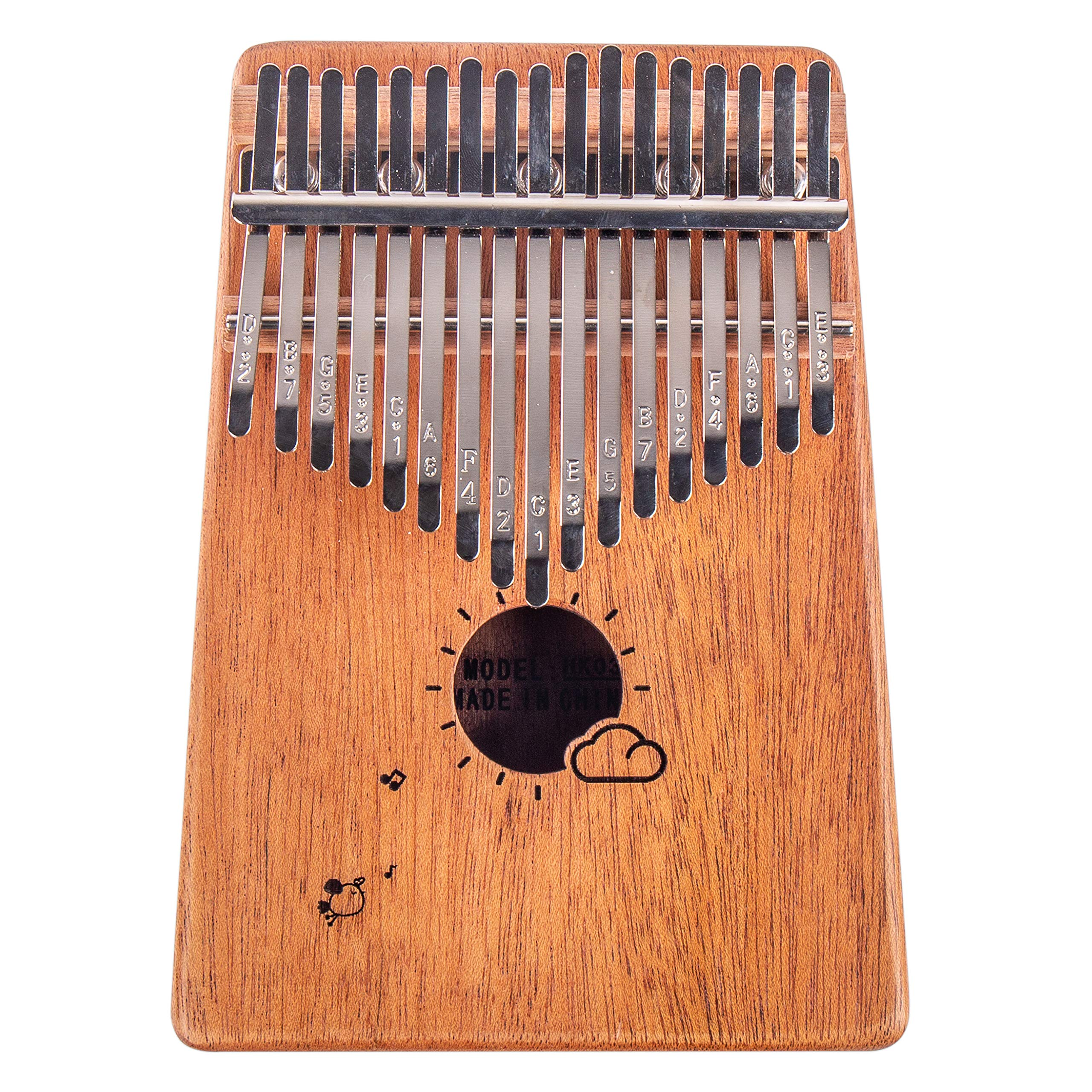 Kalimba 17 Keys Thumb Finger Piano - Mbira - Solid Mahogany and Portable with Carrying Bag and Instructions by GSM Brands