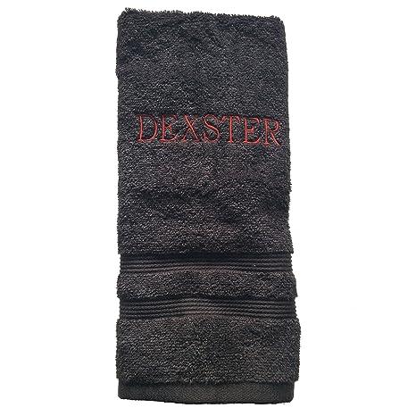 Bordado toalla de baño – color: negro, Curlz fuente, rosa hilo